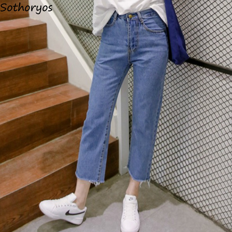 Jeans Women All-match Solid Slim High-quality Korean Style Trendy 2019 New Students Womens Ladies Lovely Elegant Simple Daily