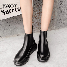 BYQDY Autumn Winter Ankle Boots Fashion PU Soft Leather Chelsea Lady Breathable Slip On Black For Girls Shoes