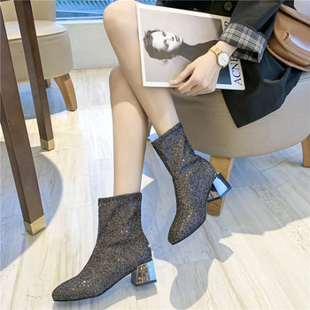 New Crystal Bling Ankle Boots Fashion Women Boots Square Mid Heels Shoes Woman Autumn Winter Boots Female Sock Boots Plus Size