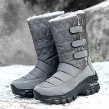Г. Зимние женские ботинки плюшевые теплые женские зимние ботинки однотонные женские мотоциклетные ботинки на высоком каблуке Нескользящие женские ботинки до середины икры