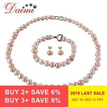 DAIMI 8-9mm Baroque Pearl Jewelry Sets Silver 925 Jewelry Pearl Sets Necklace/Earrings/Bracelet For Women