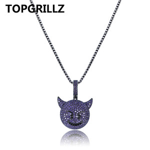 Image 2 - TOPGRILLZ Personality  Iced Out Cubic Zircon Plated Demon Dog Monkey Heart Smile Pendant &Necklace Hip Hop Jewelry For Gifts