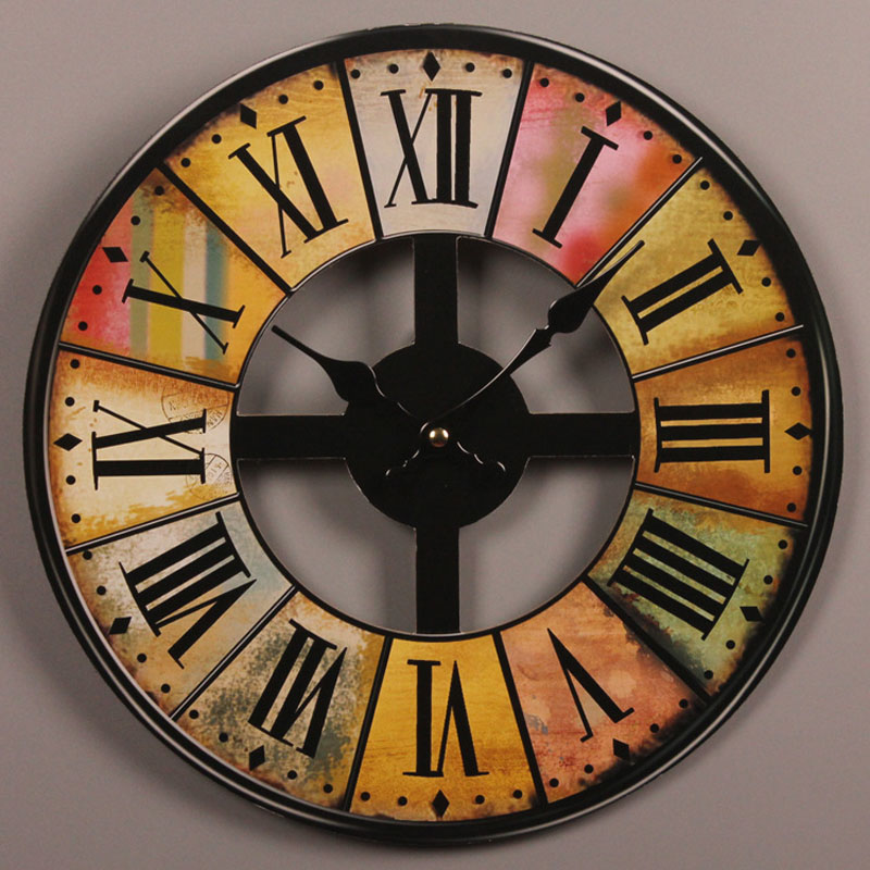 Vintage Wooden Wall Clock Large Shabby Chic Rustic Kitchen Home Antique Style Living Room Decorative