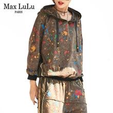 ماكس لولو 2020 ازياء السيدات الكورية فاسق بلوزات وسراويل النساء قطعتين مجموعات خمر ملابس رياضية مقنعين التمويه اللياقة البدنية الزي