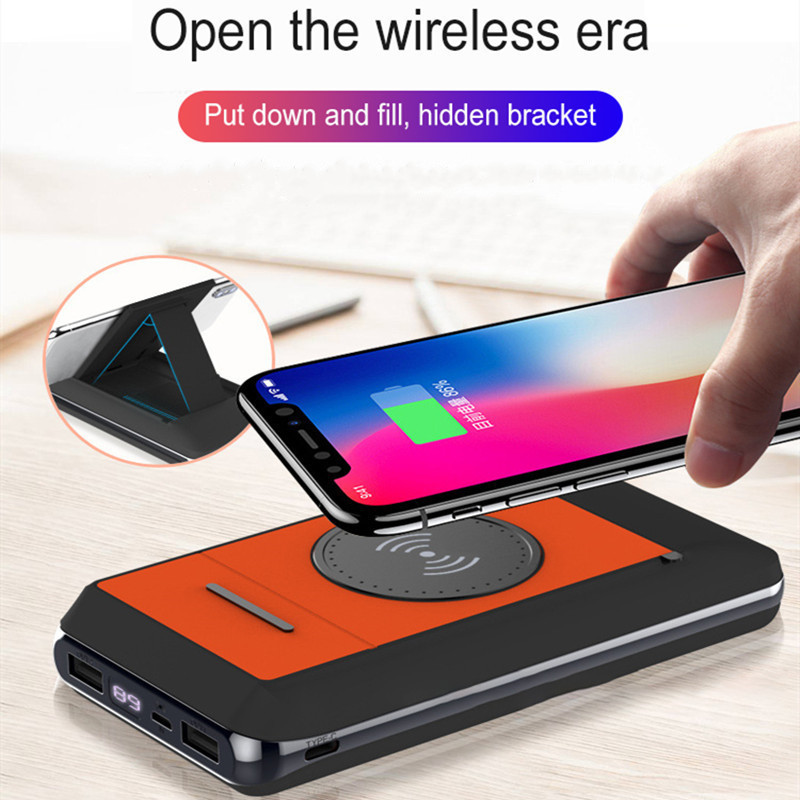 QI Wireless Charger Powerbank 10000/20000mAh Portable USB Fast Charge With Phone Holder Charger Powerbank For Iphone Samsung
