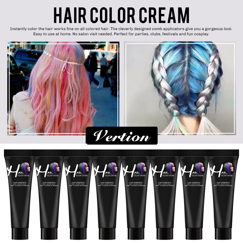 Verntion Hair Dye 6 Colors One-off Hair Color Dye Temporary Non-toxic DIY Hair Color Mascara Washable One-time Hair Dye Crayons