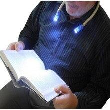 Lámpara de lectura de libros con manos libres, luz LED para el cuello Flexible, linterna de noche, Camping, I88