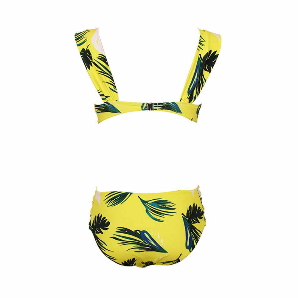 Zwei-Stück Badeanzug 2020 Sexy Floral Print Bikinis Sonnenbaden Plus Größe Bademode Biquini Off Schulter Schwimmen Anzug Für Frauen