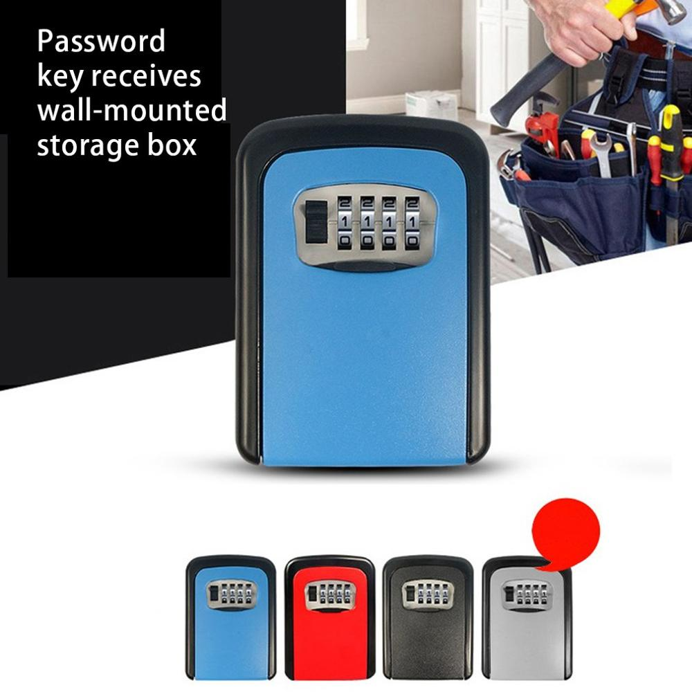 Key Safe Box Outdoor Digit Wall Mount Combination Password Lock Aluminum Key Storage Box Security Safes