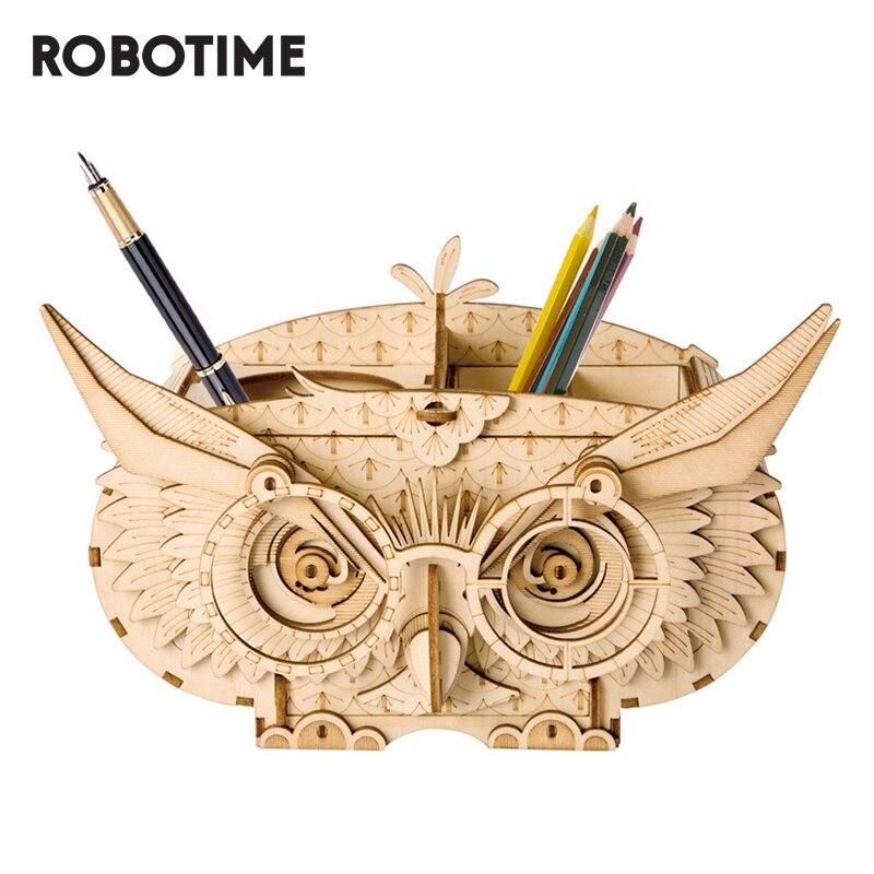 Robotime bricolage hibou boîte boîte de rangement 3D en bois Puzzle jouets assemblage modèle bureau décor jouets pour enfants TG405