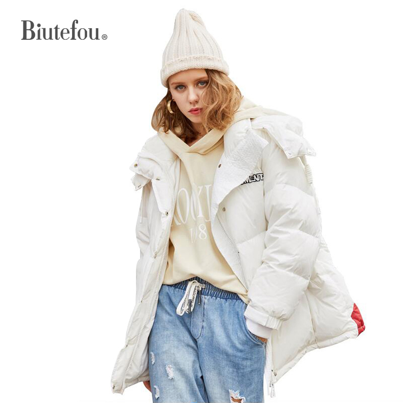 2019 Winter Fashion Thick Down Jackets Women Embroidery White Duck Down Warm Hooded Jackets
