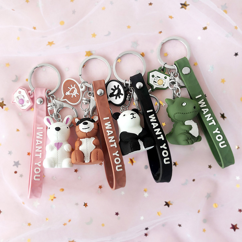 2019 New Fashion Cartoon Dinosaur Key chain Cute Rabbit Panda Key chains Creative Men And Women Car Bag Mobile Phone Key Ring in Key Chains from Jewelry Accessories