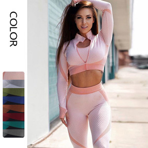8 cores 3 pçs sem costura conjunto de yoga feminino treino de manga longa roupas esportivas topo de colheita de fitness cintura alta leggings ginásios ternos do sutiã do esporte