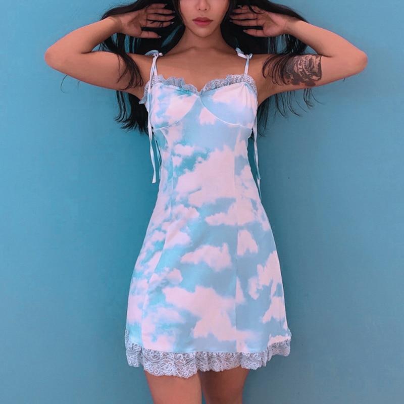 2020 Spaghetti Strap Mini Dress Sexy Lace Trim Backless Party Dress New Fashion Print A-Line Slip Dress Short Beach Dress