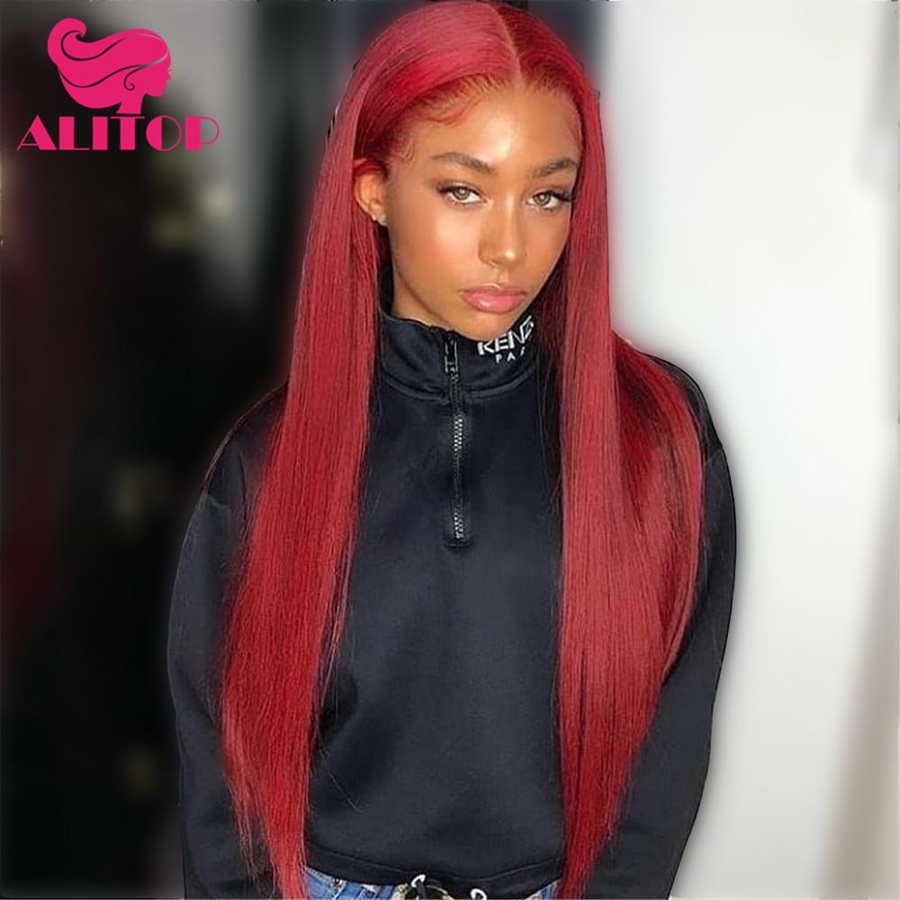 ALITOP волосы бразильские прямые волосы 1B 99J кружево спереди al парик Ombre красный 13x6 Девы синтетические волосы на кружеве человеческие вол...
