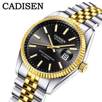 цена CADISEN Luxury Men Watch Stainless Steel Waterproof Mechanical Watch Fashion Business Sports Watch Men Automatic Watch relogio онлайн в 2017 году