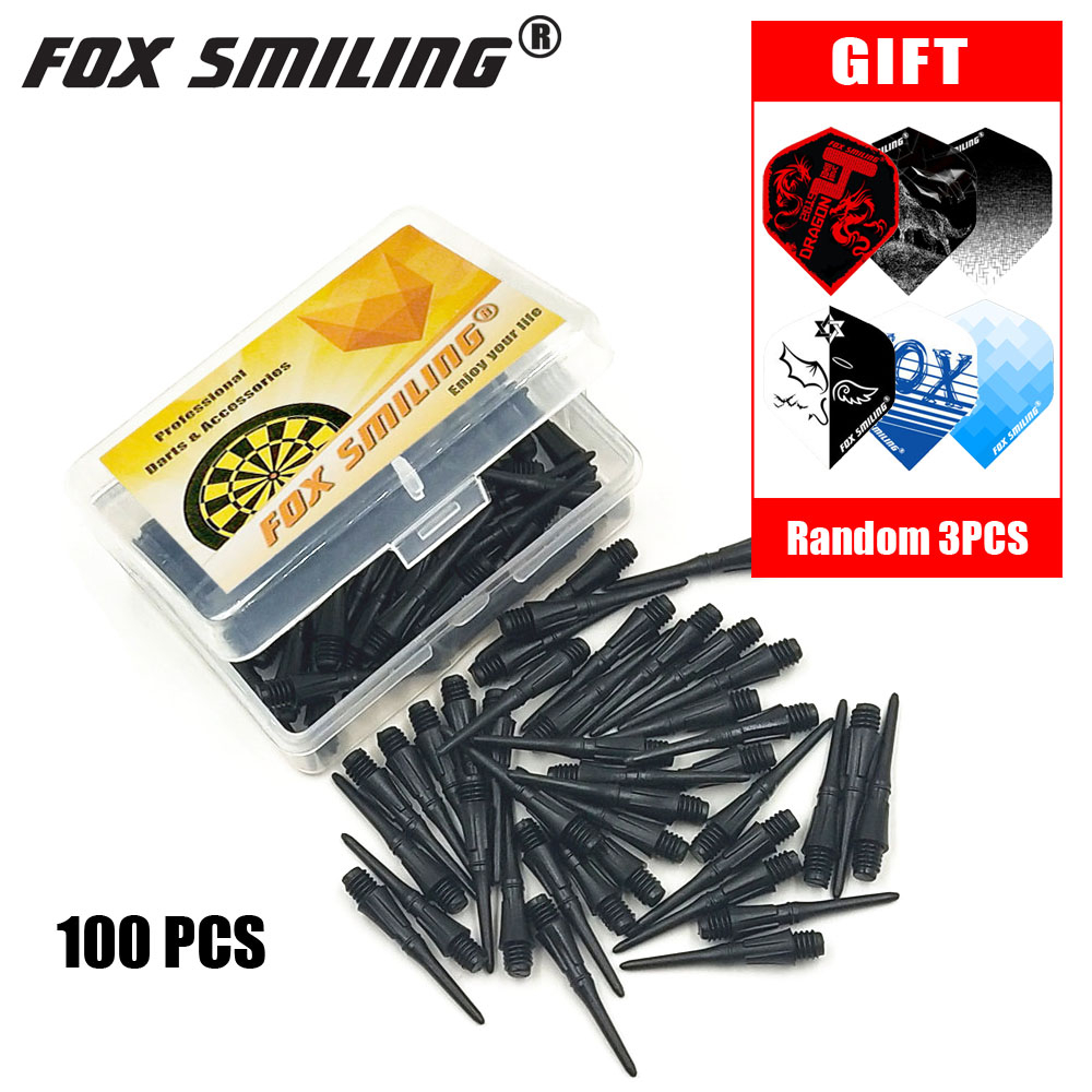 Fox Smiling100pcs 25mm 2BA Professional Dart Soft Tip For Electronic Darts Dardos Tip Black