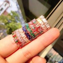 ZAKOL модная Роскошная разноцветная подвеска AAA багет Кубический Цирконий обручальные кольца для женщин Т-образный камень вечерние ювелирные изделия FSRP252