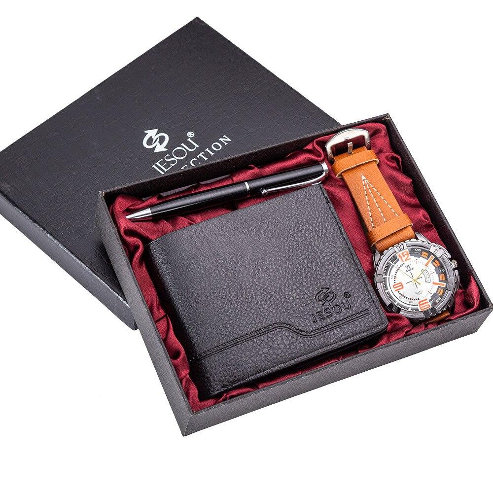 COXRY Men Watch Wallet Pen Combination Set Beautifully Packaged Leather Men's Watches Gift For Boyfriend 2019 Quartz Watches Men