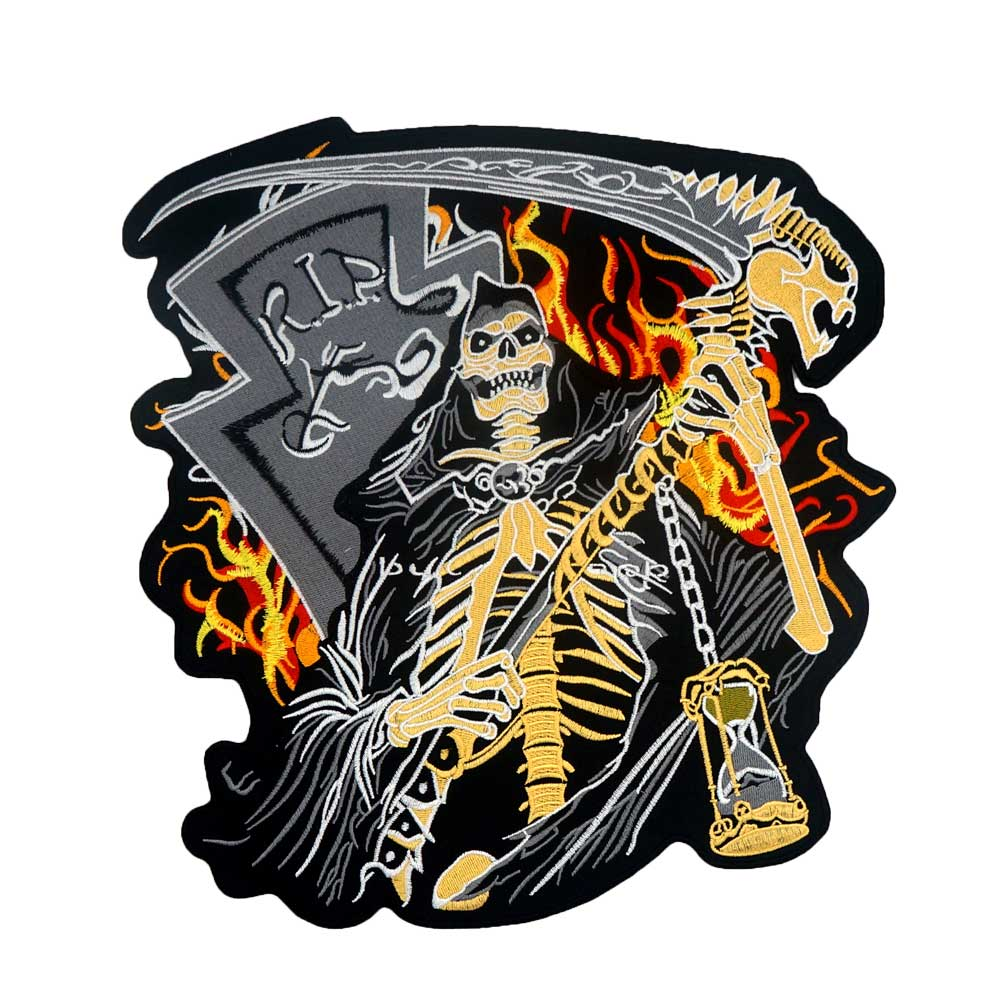 grim Reaper death Patch Embroidered Applique Sewing Label punk biker Patches Clothes Stickers Apparel Accessories Badge