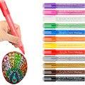 Acrylic Pens Set Paint Marker 12 Colors Fineliner 6mm Art Porcelain Glass Ceramic Mug Stone Fabric Permanent Painting Draw Pen