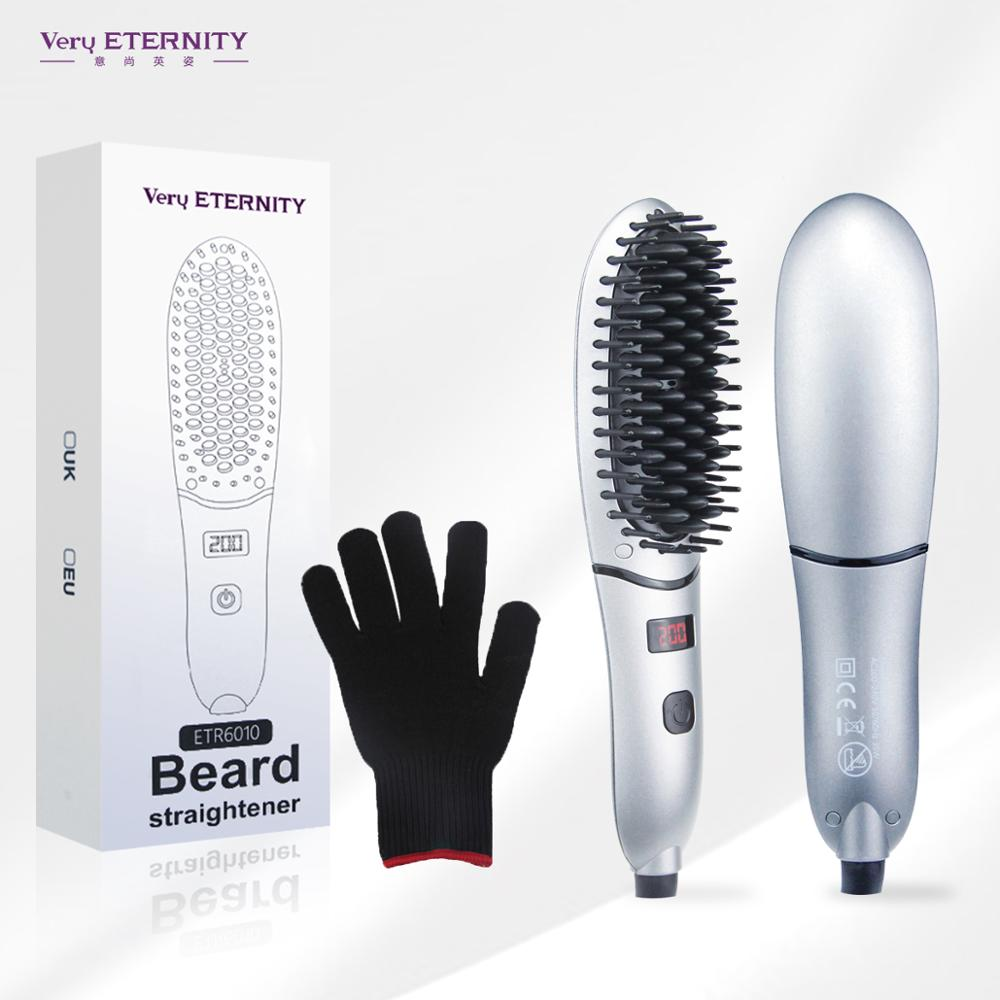 Hair Straightening Brush Compact Beard Straightener for Men Beard Straightening Heat Brush Comb Ionic LED Display Ionic Hot Heat image