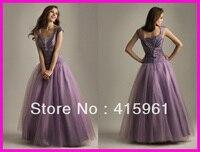 Purple Beaded Cap Sleeve Corset Back Quinceanera Prom Dresses 2019 Taffeta vestido de festa robe de soiree evening gown