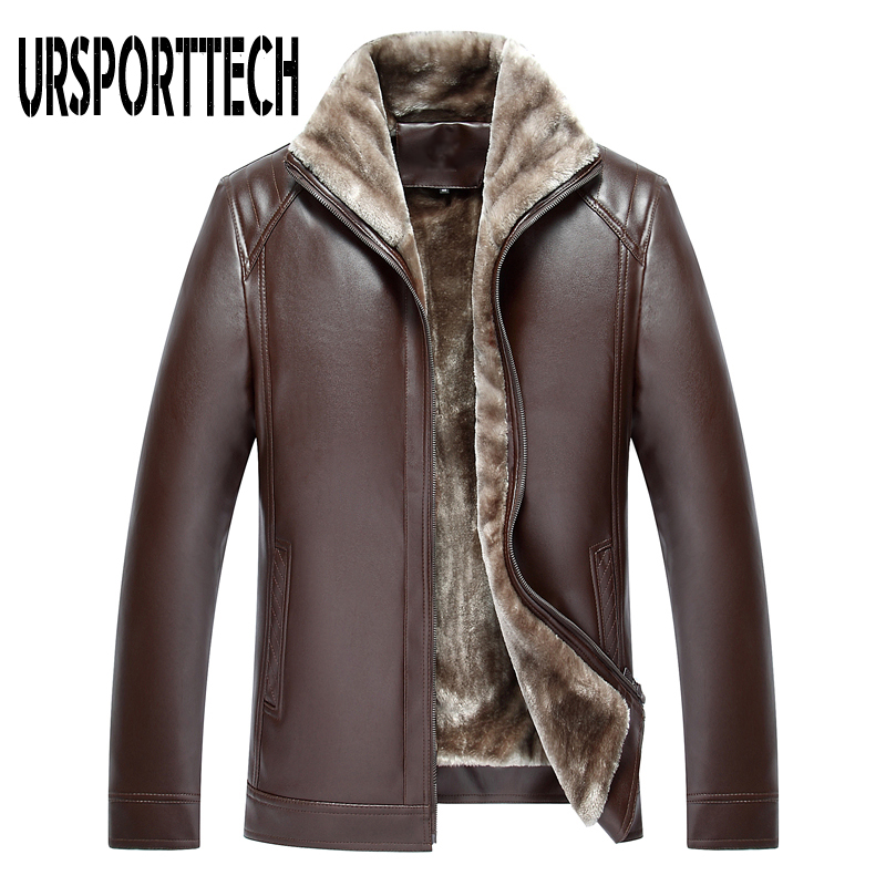 2019 New Fashion Men's PU Leather Jacket Mens Brand Clothing Thermal Outerwear Winter Fur Male Fleece Leather Down Jackets Coats