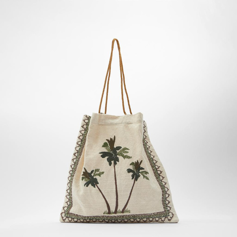 2020 New Summer Coast Three Palm Tree Embroidered Pattern Cotton Canvas Women Shoulder Bag Shopping Bag