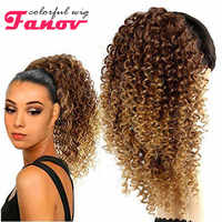 Fanov Colorful Curly Long Black Ponytail Extension Drawstring 16inch Heat Resistant Synthetic Hair for Women fake hair Ponytail