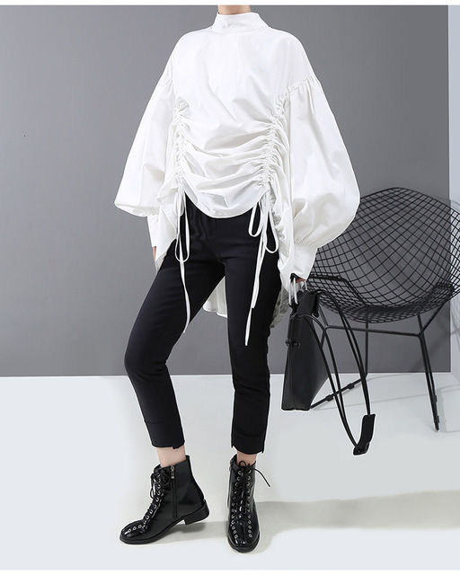 [eam] women back long drawstring big size blouse new satnd collar long sleeve loose fit shirt fashion spring autumn 2020 1n242