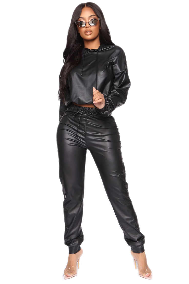 2020 neue Winter Frauen sets Mit Kapuze Volle Hülse Crop Top Hosen Anzug Zwei Stück Set Casual PU Leder Fitness Trainingsanzüge GL2052