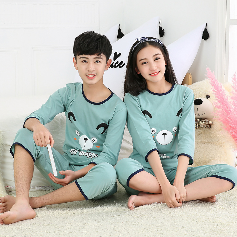Spring Summer Air Conditioning Clothes CHILDREN'S Pajamas Men And Women Children Pure Cotton Three-quarter-length Sleeve Thin Ho