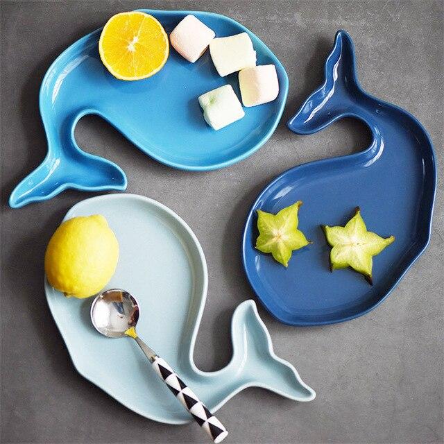 Creative Nordic cute whale shape blue breakfast dish fruit tray children tableware ceramic dinner plate YHJ022907