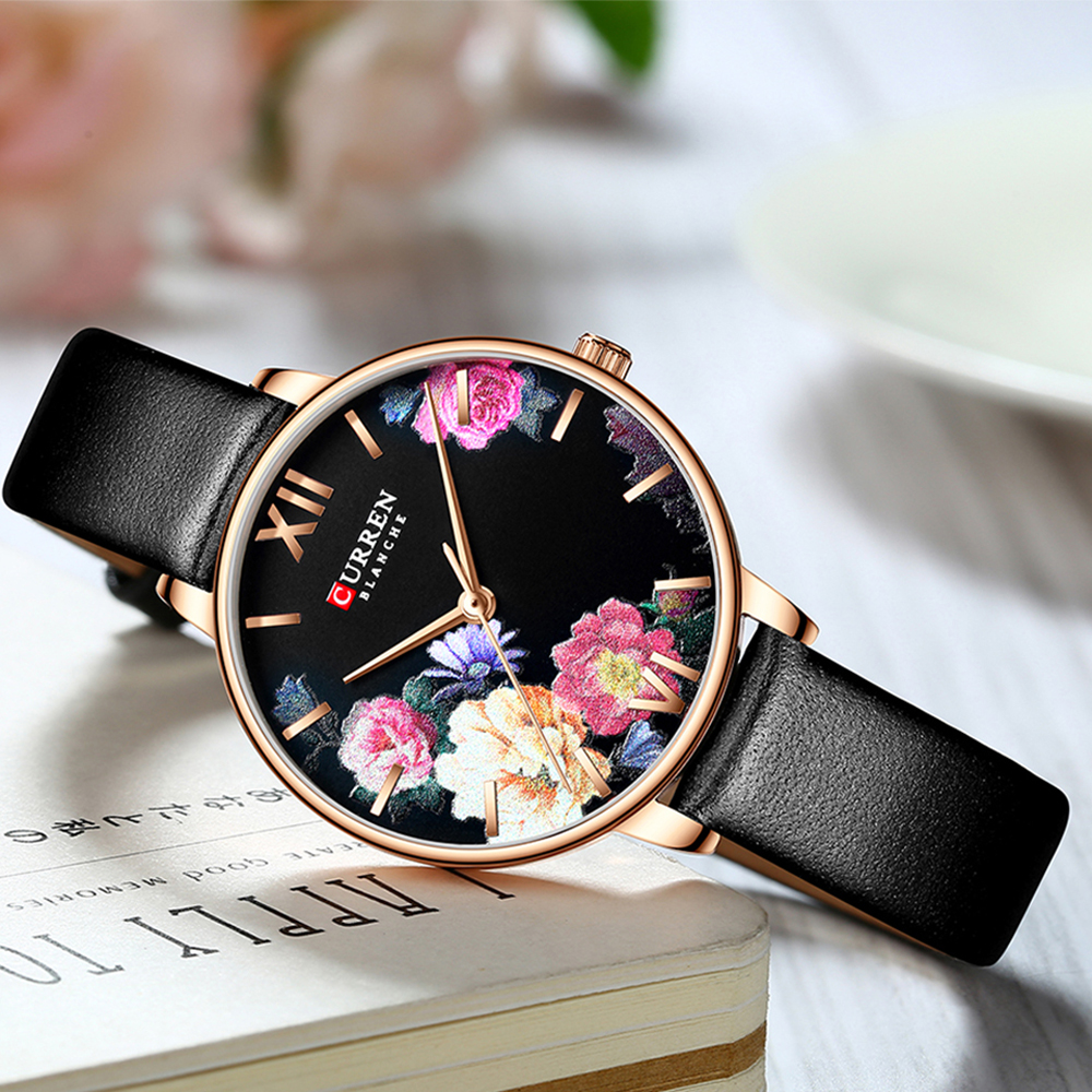 CURREN Beautiful Flower Design Watches Women Fashion Casual Leather Wristwatch Ladies Watch Female Clock Women's Quartz Watch 6