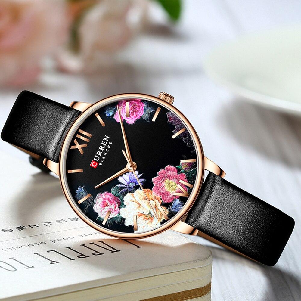 CURREN Beautiful Flower Design Watches Women Fashion Casual Leather Wristwatch Ladies Watch Female Clock Women's Quartz Watch 6