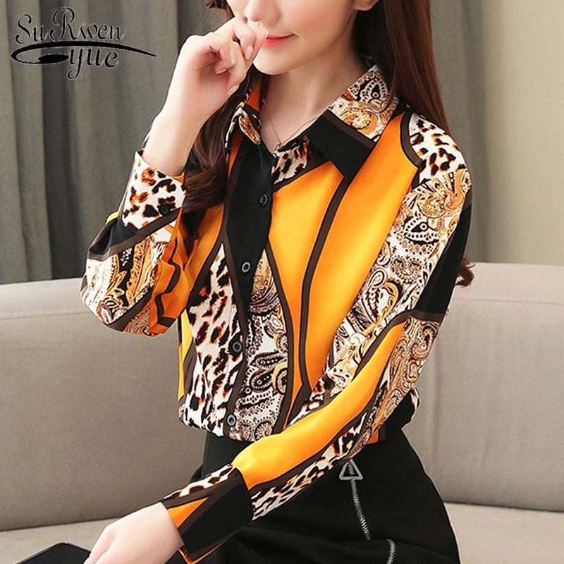 2021 Blouse Women Fashion Chiffon Shirts Women Office Lady Tops Spliced Leopard Blusas Femininas Shirts Leopard Button 8092 50 2