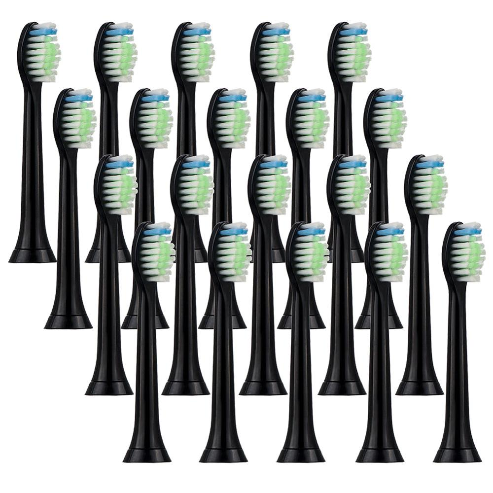 20pcs Electric Sonic Replacement Brush Head For Philips Sonicare Diamond Clean Toothbrush Heads Black Soft Bristles HX6064 image