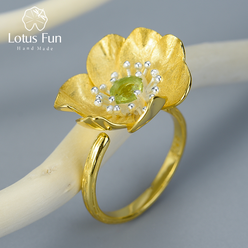 Lotus Fun Real 925 Sterling Silver Natural Stone Handmade Designer Fine Jewelry Blooming Anemone Flower Rings For Women Bijoux