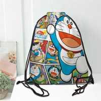 Hot custom Doraemon Printed backpack drawstring bag satin soft shoe bags to school custom Logo bags for women