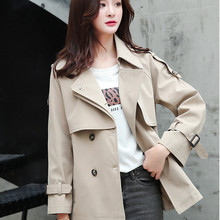 New style womens windbreaker spring and autumn Lapel fashion casual short