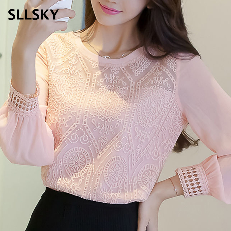 SLLSKY Lace Openwork Bottoming Shirt Women's Spring Autumn New Loose Elegant Long-Sleeved Round Neck Stitching Blouse