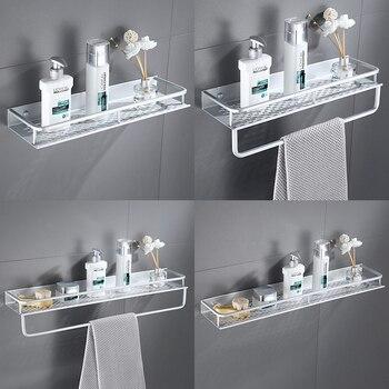 Space Aluminum Bathroom Towel Shelf Shower Shampoo Soap Cosmetic Shelves Kitchen Condiment Storage Rack Bathroom Accessories Bathroom Fixtures