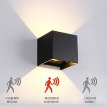 Radar Sensor Veranda Licht Einstellbare Winkel Outdoor Indoor LED Wand Lichter Dekoration Garten Korridor Lampe Cube Wand Leuchte lichter