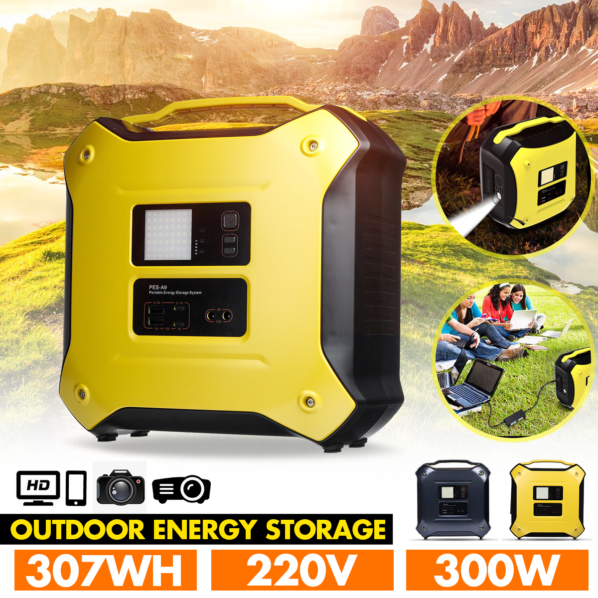 300W 220V Portable Energy Storage System Solar Inverter Generator bluetooth4.0 Outdoor UPS AC/DC Battery Charge Powers Supply
