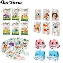 OurWarm 12pcs Safari Animals Favor Box Gift Box Paper Bags Animals Theme Birthday Party Decoration Event Supplies Candy Box