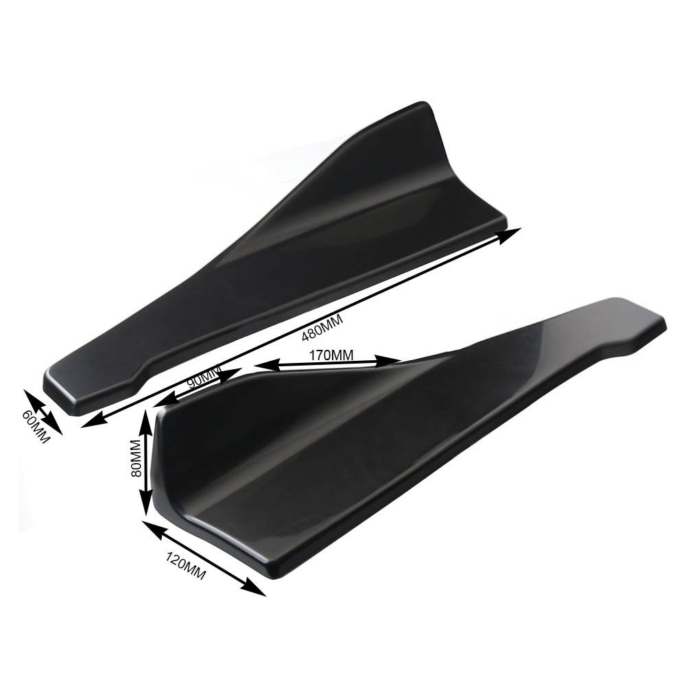 Купить с кэшбэком 2pc 48cm Universal Car Rear Bumper Lip Winglets Side Skirt Extensions V7 Style Splitter Diffuser Protection Bright Rear Splitter