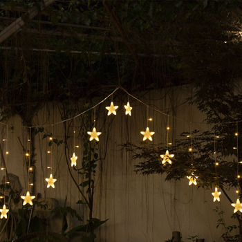 Star Curtain Light Inverted Triangle Decorative Lamp Bedroom Living Room Christmas Day Party Five-Pointed Star Multicolor Light цена 2017