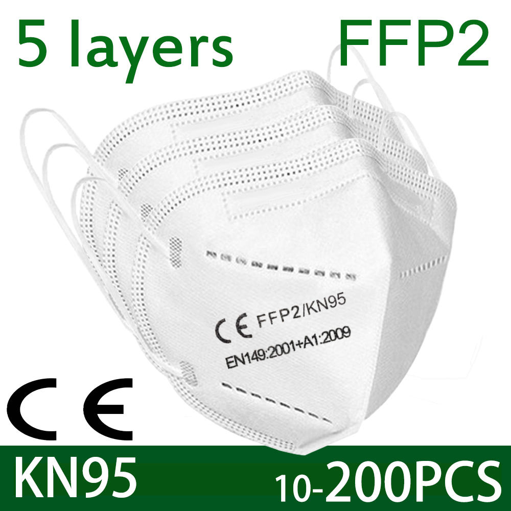 100 pieces of KN95 face mask antivirus 5 layer filter dust port PM2.5 mascarillas fpp2 protection health mask fast delivery 1
