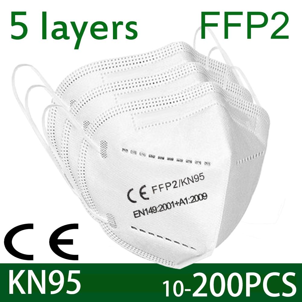 Masque facial KN95, 100 pièces, filtre à 5 couches, filtre anti-poussière, port de protection PM2.5, fpp2, livraison rapide
